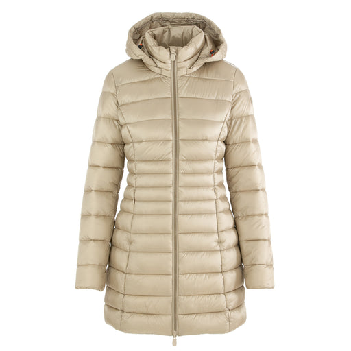 save the duck womens long puffer jacket beige