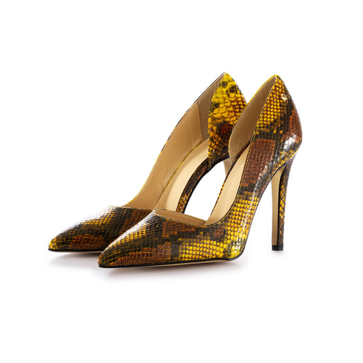 sisley womens pumps yellow snake print
