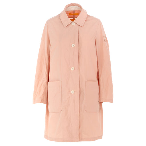 oof womens raincoat with shirt collar pink