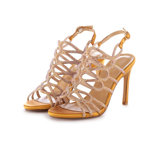 alma en pena womens heel sandals satin yellow