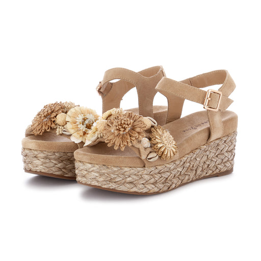 alma en pena womens wedge sandals flowers beige