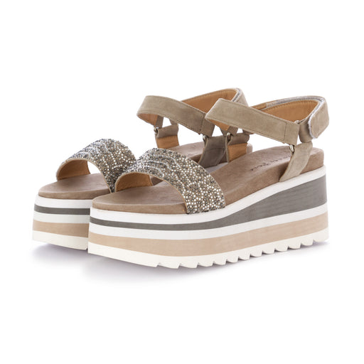 alma en pena womens wedge sandals suede grey beige