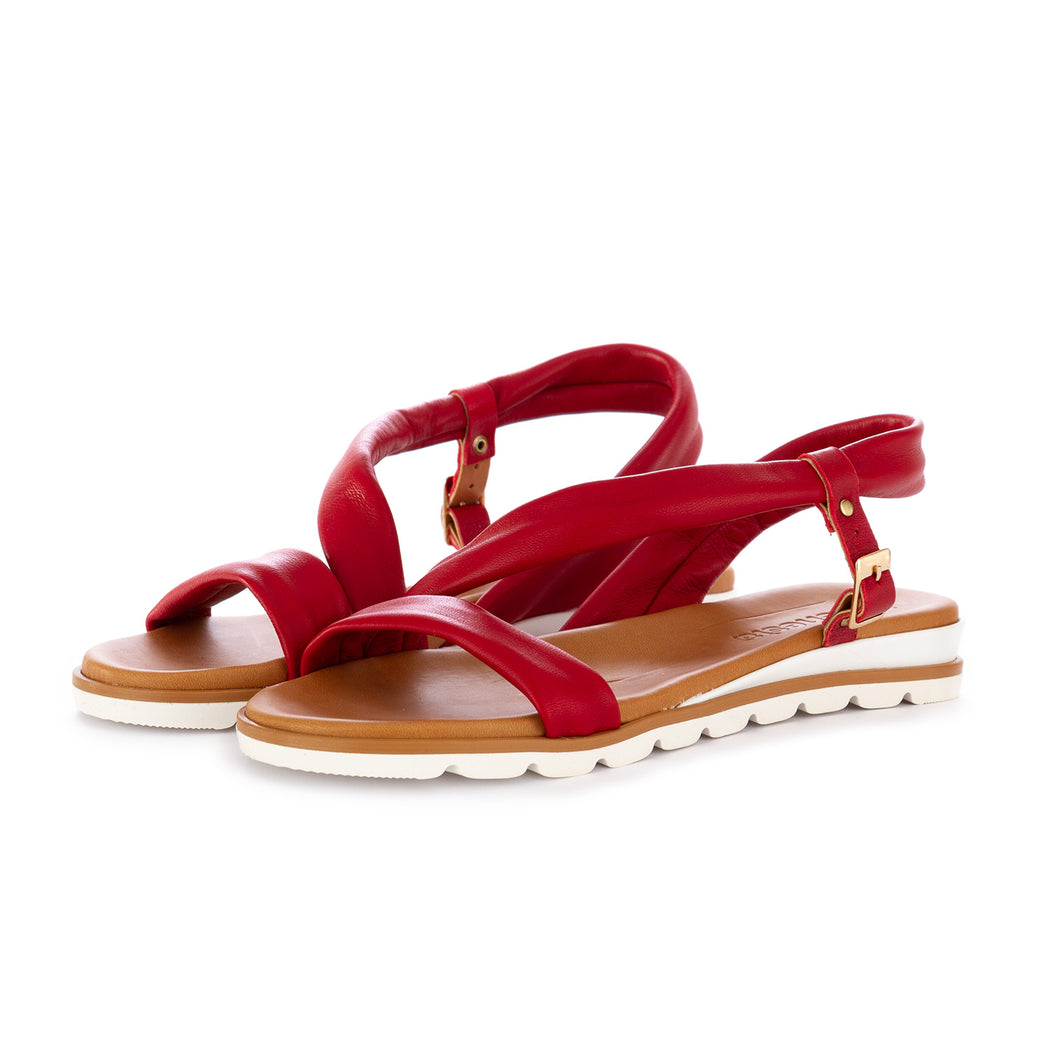 frenesia womens sandals leather red nappa
