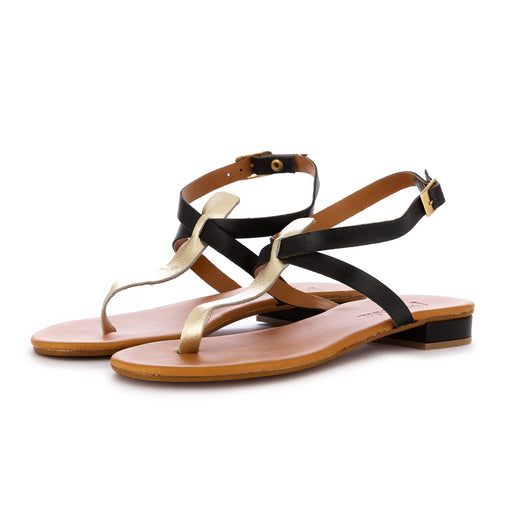 frenesia womens sandals leather black lame'