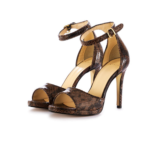 sisley womens heel sandals brown snake print