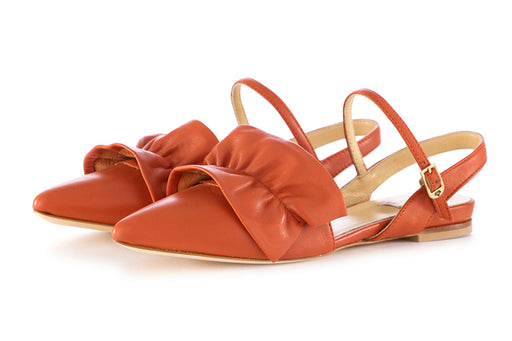 L'Arianna womens flat sandals orange leather