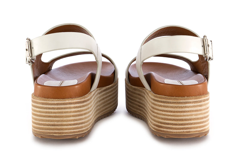 Rahya Grey womens platform sandals leather white