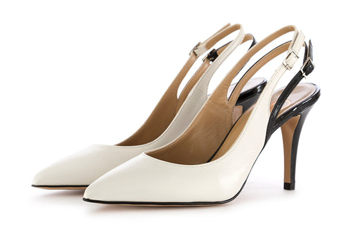 Crispi pumps white/black in nappa leather