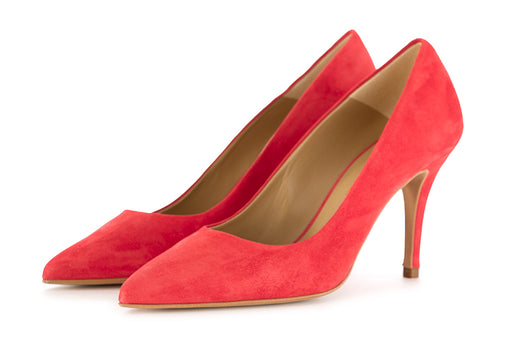 CRISPI womens coral red suede leather Pumps