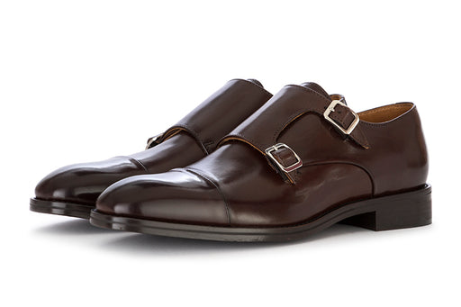CARLI 1937 mens flats with double buckle dark brown