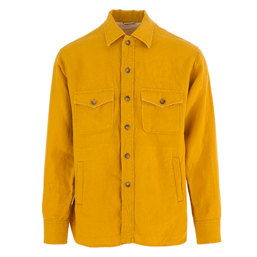TINTORIA MATTEI 954 mens shirt linen yellow