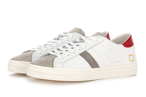 D.A.T.E. mens sneakers white red leather