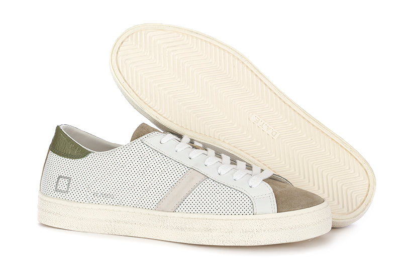 D.A.T.E. mens sneakers white, green leather