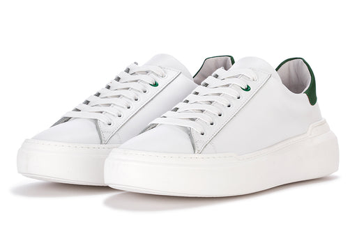 @GO men's sneakers white/green leather