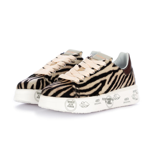 "premiata womens sneakers ""belle"" zebra beige black"