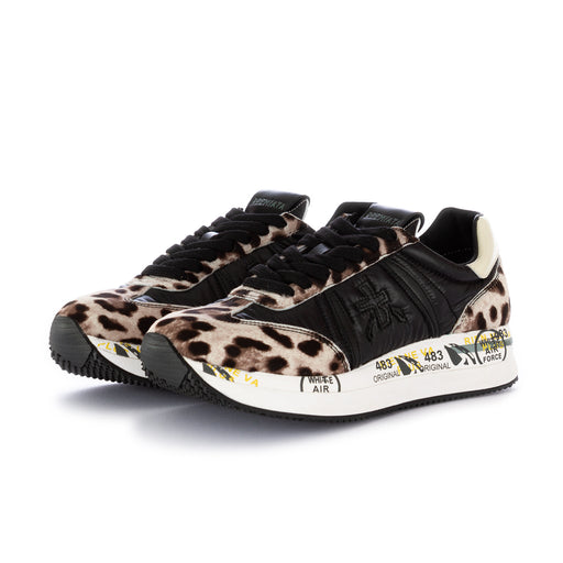 "premiata womens sneakers ""conny"" black multicolor"