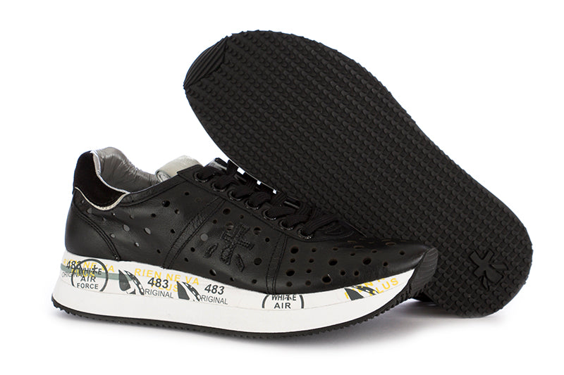 Premiata womens sneakers leather black