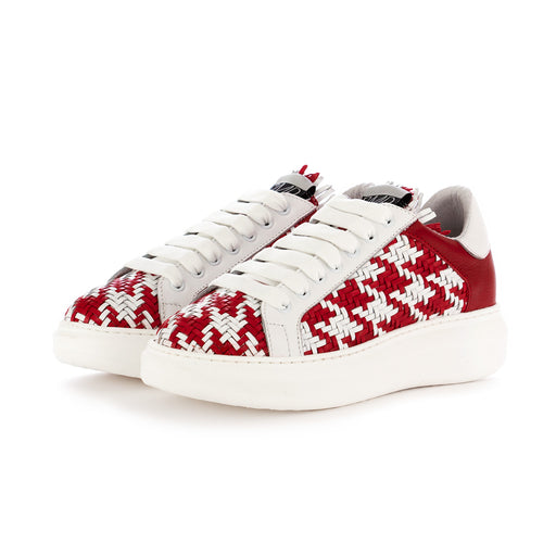 semerdjian womens sneakers leather white red