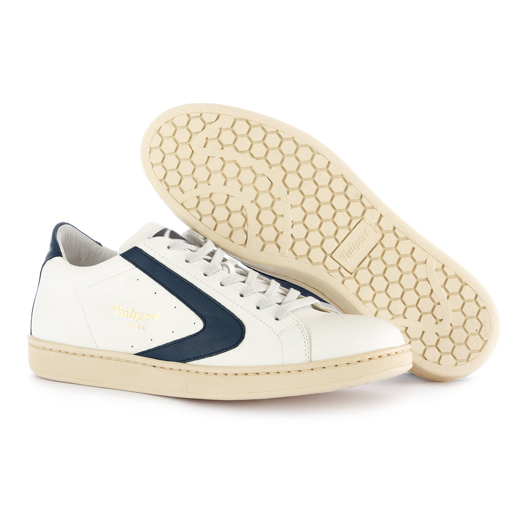 "VALSPORT | SNEAKERS ""TOURNAMENT"" LEATHER WHITE OCEAN BLUE"