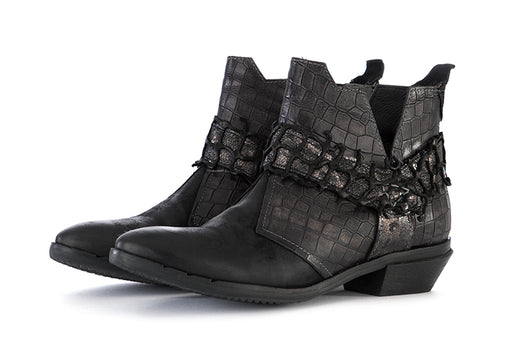 CLOCHARME womens black/silver leather Ankle boots