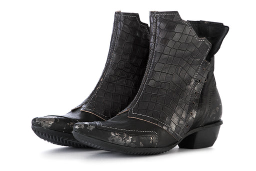 CLOCHARME womens black silver leather Ankle boots