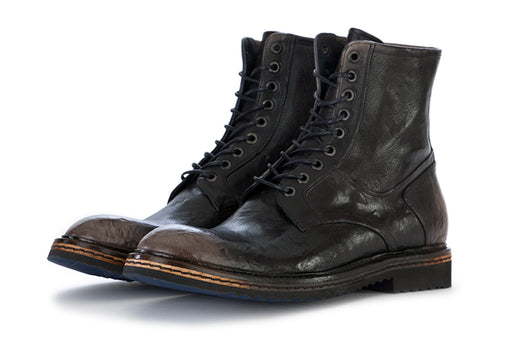 LORENZI mens black leather Lace-up ankle boots