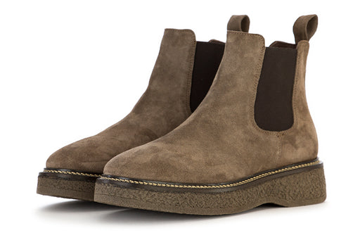 MANOVIA 52 womens khaki brown suede Chelsea boots
