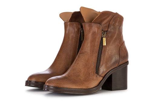 SALVADOR RIBES womens hazelnut leather Ankle boots