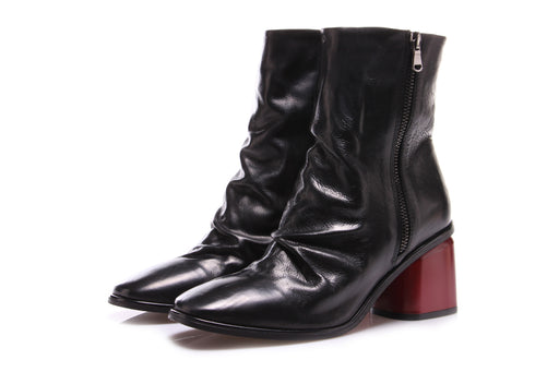 JUICE womens black/red leather Ankle boots
