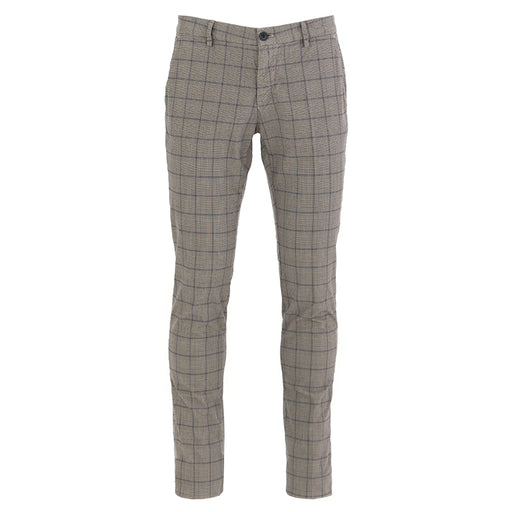 masons mens trousers cotton checkered grey