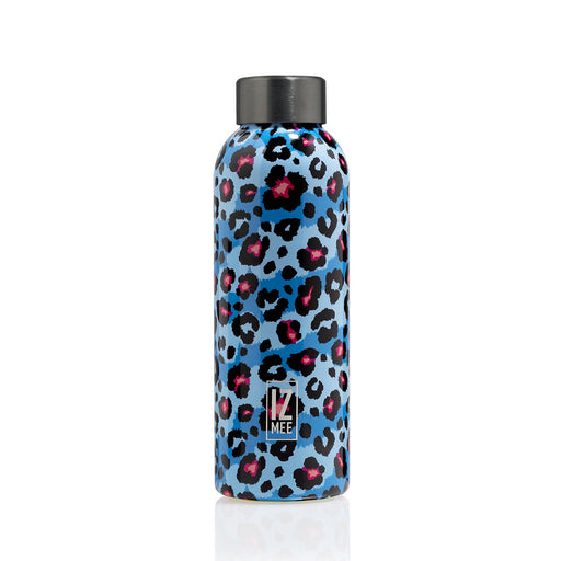 izmee thermo water bottle fluo pard light blue