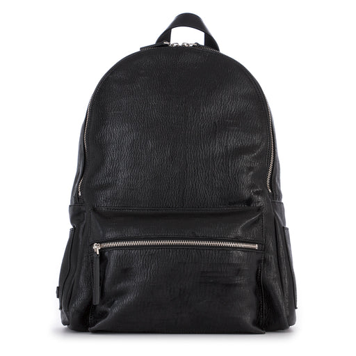 ORCIANI mens black leather Backpack