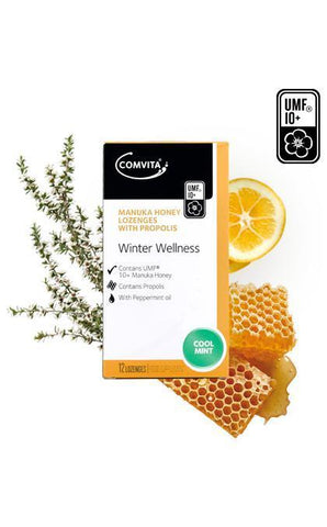 Comvita Manuka Honey & Propolis Lozenges - Coolmint 12 lozenges