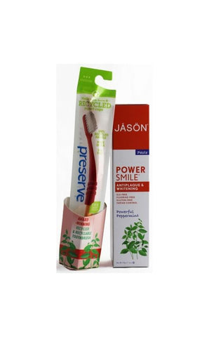 Jason Powersmile Antiplaque & Whitening Toothpaste with Preserve Toothbrush