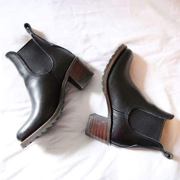 Remishoes Chunky Cleated Heel Chelsea Boots(Ship In 24 Hours)
