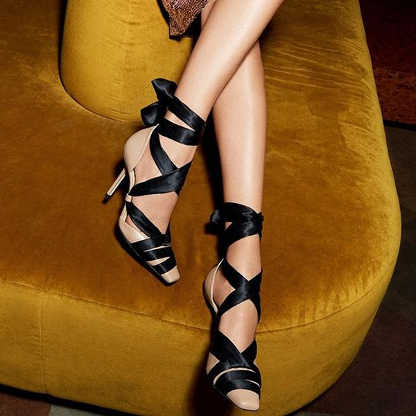Remishoes Women Fashion Pointed Toe Lace-Up Heels