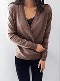 Remishoes Deep V-Neck Wrap Front Loose Sweater