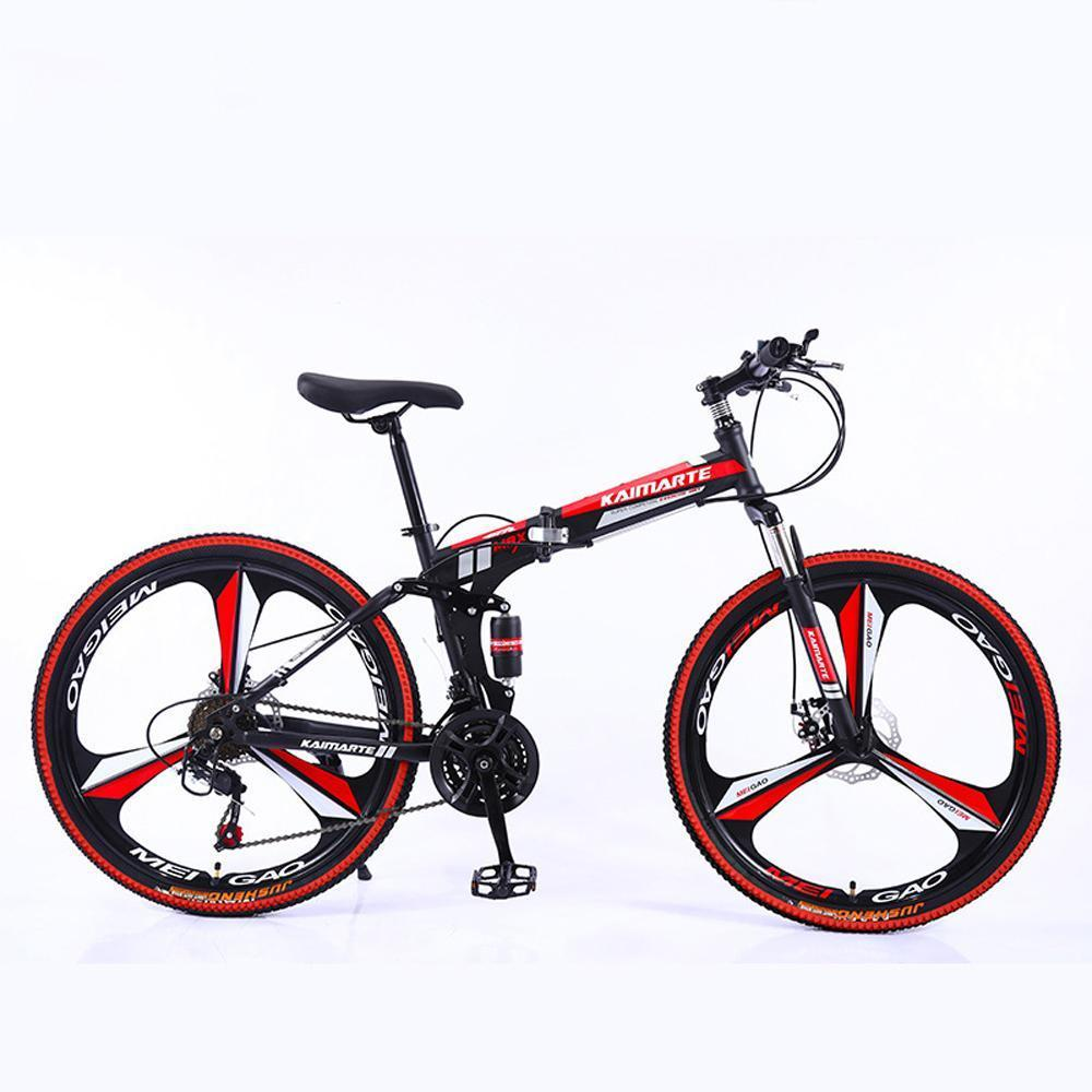 "Remishoes 26"" 21/24/27/30-Speed Mountain Bike for Adult, High carbon steel Full Suspension Frame, Disc Brake"