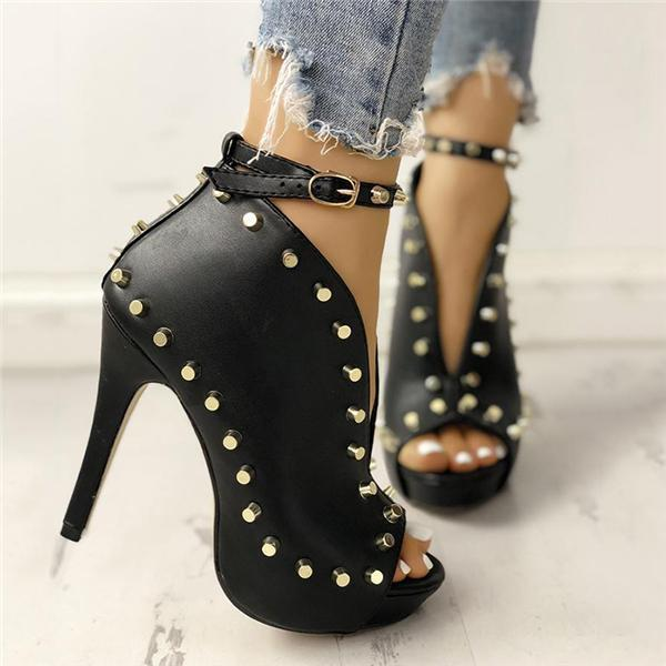 Remishoes Rivet Embellished Hollow Out Buckle High Heeled Sandals