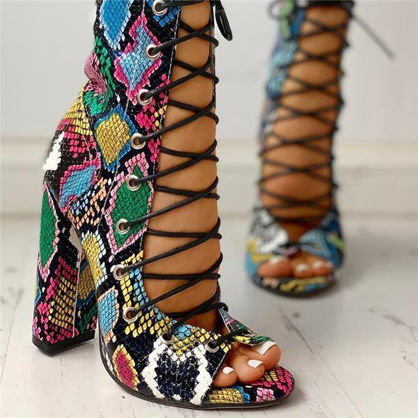 Remishoes Lace-up Peep Toe Chunky Heeled Sandals