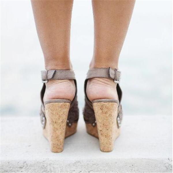 Remishoes Candace Taupe Wedges