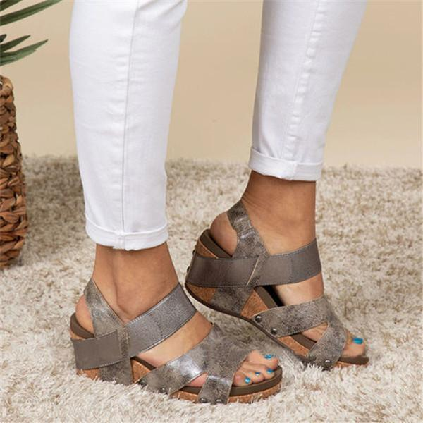 Remishoes Women Comfy Slip-on Wedge Sandals