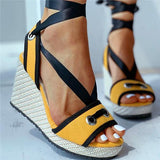 Remishoes Crisscross Bandage Colorblock Wedge Sandals