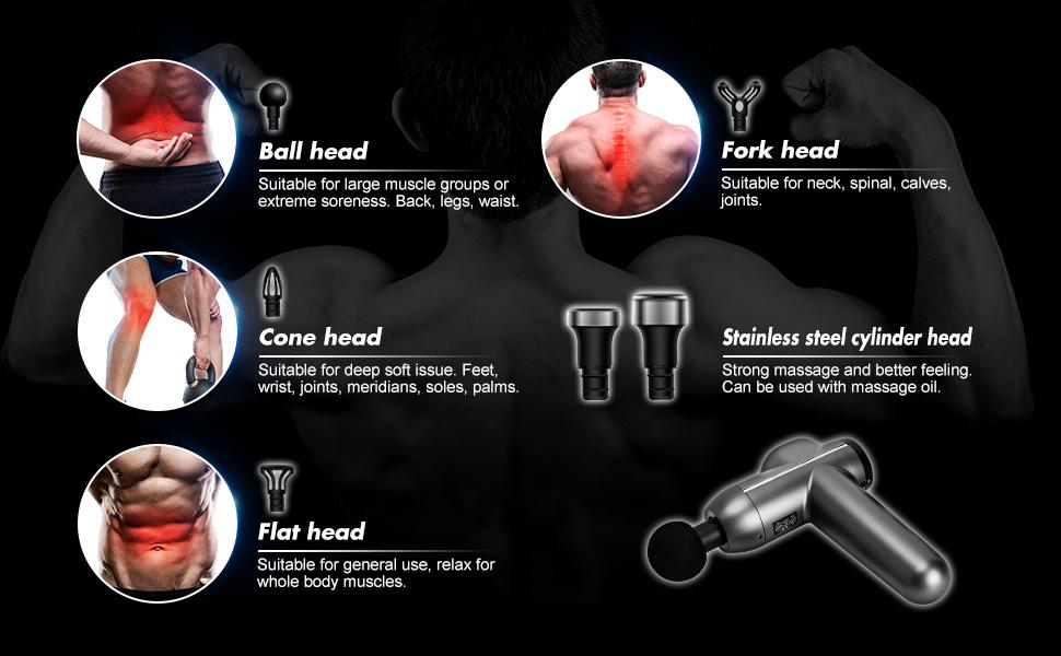 Remishoes Massage Gun, Handheld Deep Tissue Muscle Massager for Pain Relief, Super Quiet Brushless Motor, Mini Massage Device, 6 heads, LED Screen, Long Battery Life