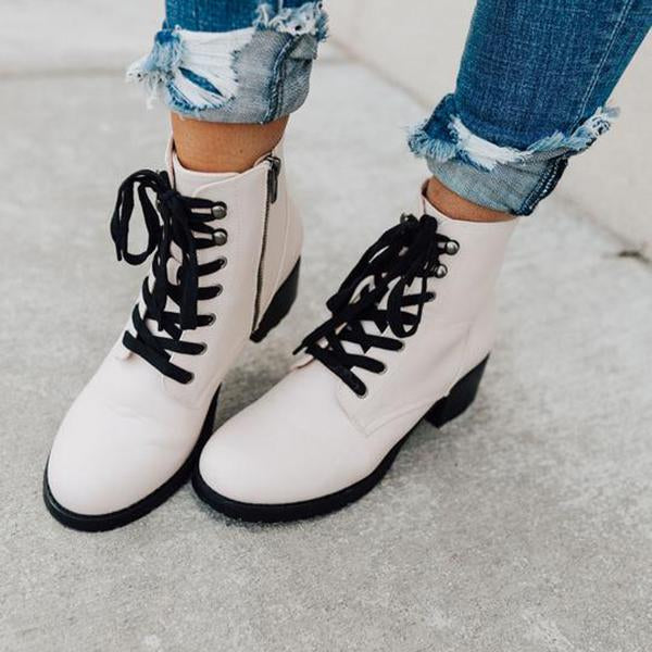 Remishoes White Lace Up Chunky Heel Lace Up Boots