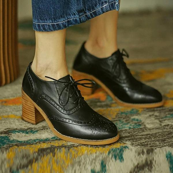 Remishoes Colorblock Round Toe Lace-Up Leather Boots