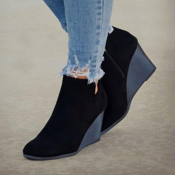 Remishoes Side Slit Wedge Booties