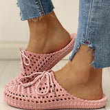 Remishoes Hollow Out Lace-Up Slippers For Women