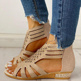Remishoes Studded Hollow Out Flat Sandals