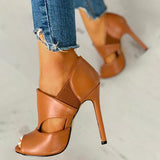 Remishoes Solid Hollow Out Design Peep Toe Thin Heels